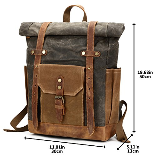 Mwatcher Waterproof Waxed Canvas Leather College Weekend Travel laptops  Backpack 6a41887ee0d5b
