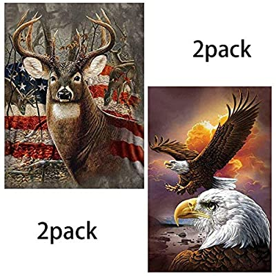 Diamond Painting Kits for Kids,5D DIY Diamond Painting by Number Kits for Home Decor Deer with American Flag&Eagle 11.8x15.7in 2 Pack by Fairtie: Arts, Crafts & Sewing
