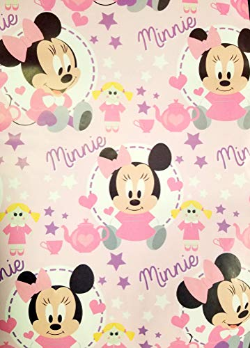 Baby Minnie Mouse Gift Wrapping Paper 2-Sheets Party Gift Decoration Birthday Shower -