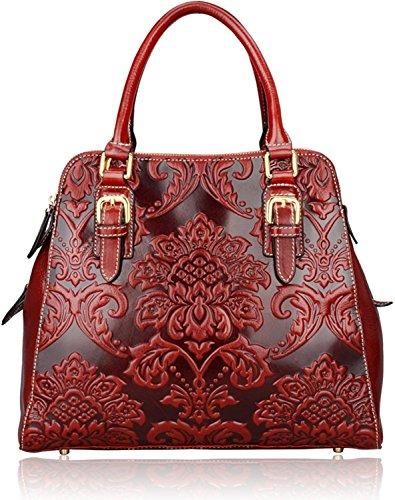 Pijushi Designer Floral Handbag Women's Genuine Leather Tote Flower Purses 6028 (big size, red)