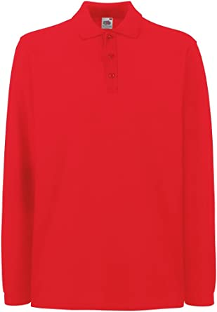 Fruit of the Loom Men's Premium Pique Long Sleeve Polo Shirt Red XL