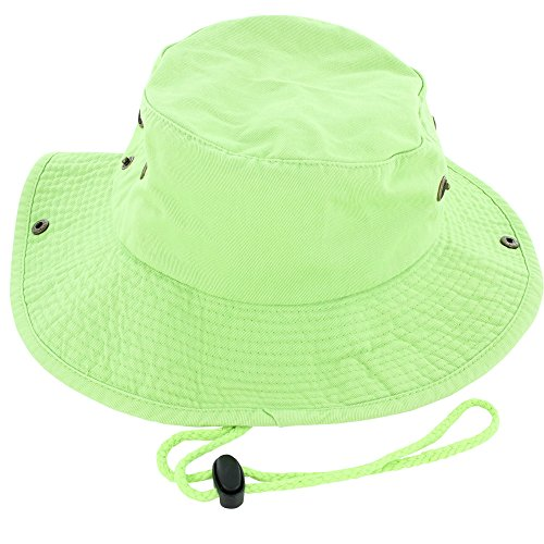 100% Cotton Boonie Fishing Bucket Men Safari Summer String Hat Cap (15+ Colors) Lime L/XL