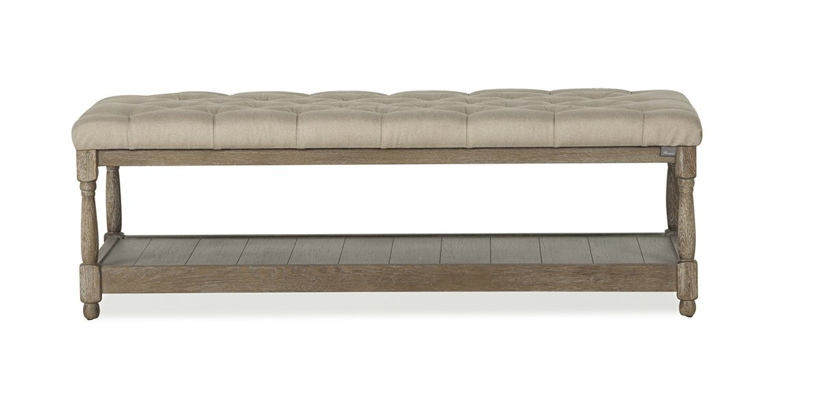 Flamant Matera Tufted Bench, Brushed Natural Weave