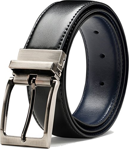 "Glee&Cluster Genuine Leather Belt With Single Prong Rotated Buckle - Adjustable Dress Belt For Men – 1.25"" Wide Reversible Strap With Elegant Sleek Texture Finish – Comes In Black With Navy M"