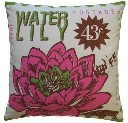Koko Postage Water Lilly Print Cotton Pillow, 20 by 20-Inch, Pink/Lime ()