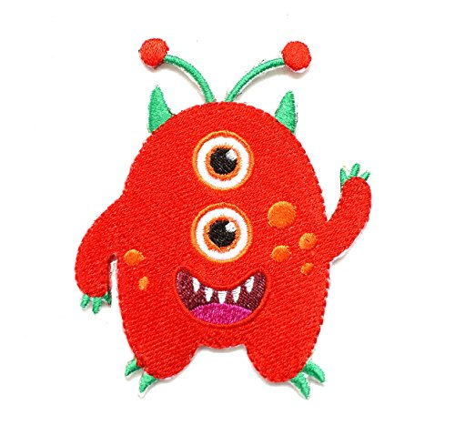 InspireMe Family Owned Cute Red Monster Embroidered Iron On Patch 3.5