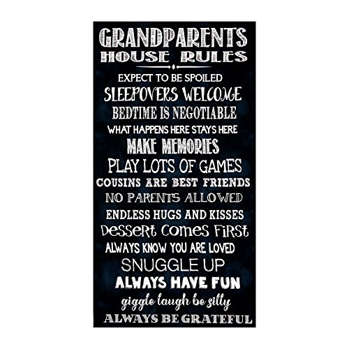 Timeless Treasures 23.5in Grandparents Rules Panel Black Fabric