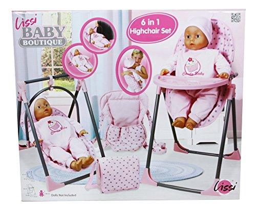 Lissi Convertible Doll Highchair Play Set with Accessories Role Play Toy ()