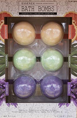 Essenza Premium Aromatherapy Bath Bombs 2x Lavender, 2x Eucalyptus & 2x Grapefruit (7.5 oz., 6 pk.)