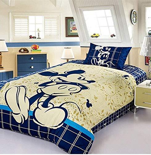 Disney Mickey Mouse Bedding Set 100% Cotton Cartoon Duvet Cover Blue Sheet Set Single Queen Size for Children Beddings (Queen 4pcs)