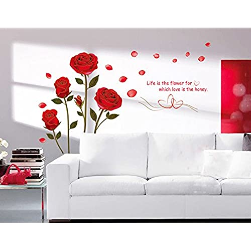UfingoDecor Red Rose Removable Wall Stickers Murals For Living Room/Bedroom  (Rose, No. 1). By Ufengke Décor