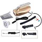 Tily 4 in 1 Handheld Wet-Dry Car Vacuum Cleaner with Tire Inflator, Tire Pressure Gauge and Led Lighting 12V 100W (Golden)