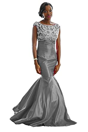 XPLE Fitted Mermaid Hand-Beaded Couture Evening Gown Plus Size Grey Bridesmaid Dresses US 2