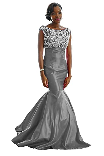 Xple Fitted Mermaid Hand Beaded Couture Evening Gown Plus Size