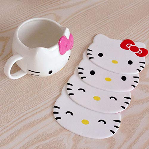Kacolpe 1PCS Hello Kitty Silicone Cup Pads Dining Table Placemat Coaster Kitchen Table Accessories Mat Cup Bar Mug ()