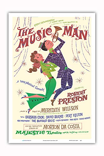(Pacifica Island Art - The Music Man - Starring Robert Preston - Majestic Theater Broadway - Vintage Theater Poster by David Klein c.1957 - Master Art Print - 12in x 18in)