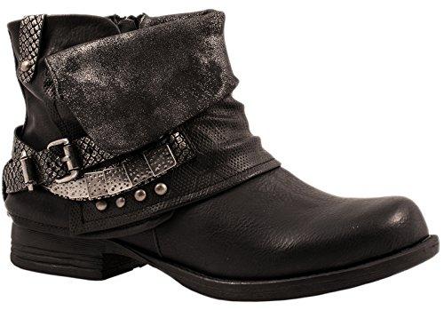 Elara Damen Biker Boots | Metallic Prints Schnallen | Nieten Stiefeletten Lederoptik | Gefüttert Schwarz -