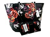 New Nine West Logo Purse Hand Bag & Matching Zip Wallet 2 Piece Set Floral Black