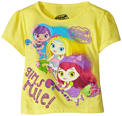 Extreme Concepts Little Girls' Toddler Charmers Rule Group Shot TG Bubble Sleeve T-Shirt, Yellow, 3T