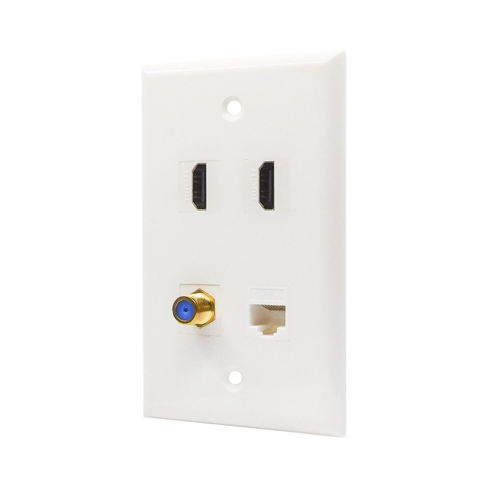 ESYLink AL304 Ethernet Coax Wall Plate Cat6 Coax Wall Plate with 1 Ethernet Port 1 TV Coax Cable//F-Type Connector White