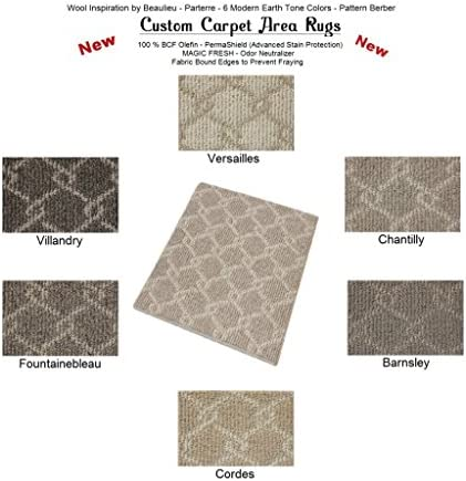 Oval 9 x12 Versailles – Parterre Chain Link Custom Carpet Area Rugs Runners – 30 Oz. Pattern Berber Style in Modern Earth Trones 6 Colors to Choose from