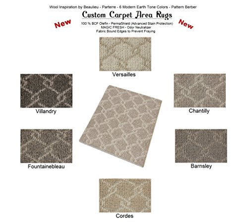 3 x5 Chantilly – Parterre Chain Link Custom Carpet Area Rugs Runners – 30 Oz. Pattern Berber Style in Modern Earth Trones 6 Colors to Choose from