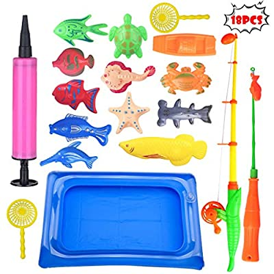 Whitleig 18pcs Bath Toys for Kids Fishing Magnetic Toys Floating Fishing Game: Toys & Games