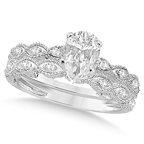Pear-Cut Antique Style Diamond Engagement Ring with Wedding Band Bridal Set 14k White Gold (Antique Style Diamond Band Ring)