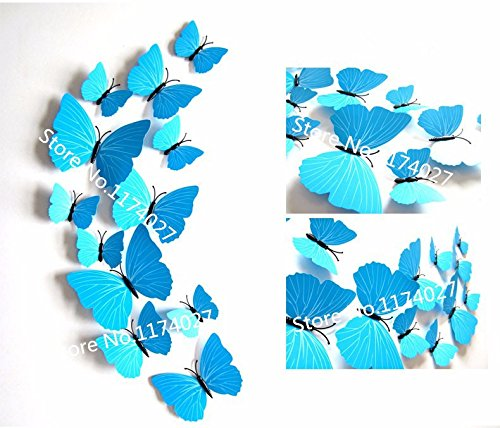 12 Pcs/Lot PVC 3D DIY Butterfly Wall Stickers Home Decor Poster for Kitchen Bathroom - Ray Ban Poster