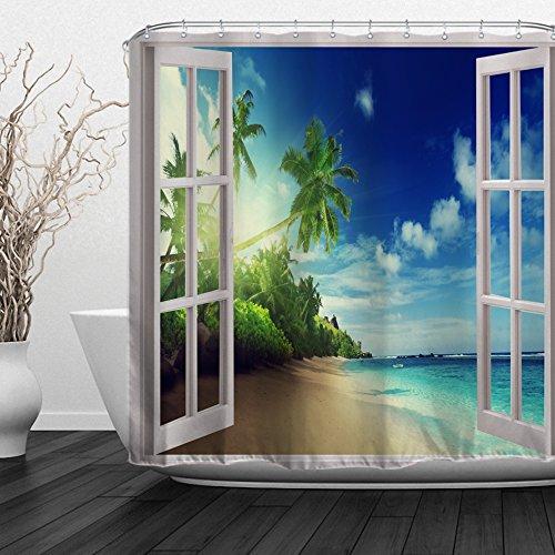 ALFALFA Home Bathroom Decorative Fabric Ocean Beach Theme Shower Curtain With Hooks, Waterproof, Mildew Resistant 72
