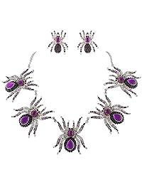 Ever Faith Spider Necklace Earrings Set Austrian Crystal