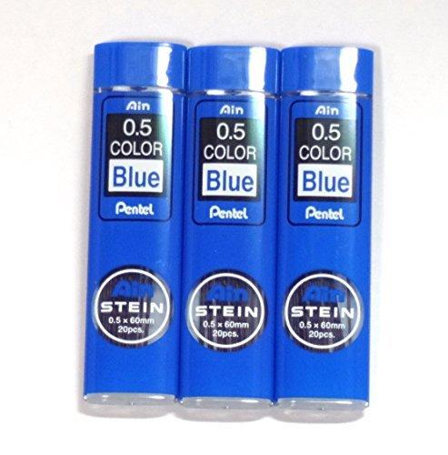 Pentel Ain Stein pencil Lead Rifll 0.5mm, BLUE, X 3 Pack/total 60 Leads (Japan Import) [Komainu-Dou Original Package]
