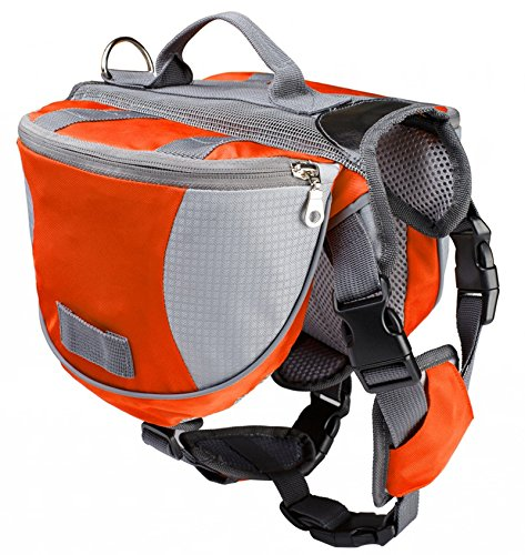 Pettom Dog Saddle Bag Backpack Pet Tripper Hound Bag for Outdoor Travel Hiking Camping (Orange, S)