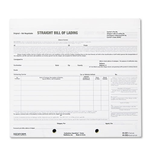 Rediform Bill of Lading Short Form, 8 1/2 x 7, Four-Part Carbonless, 250 - Form Lading Short