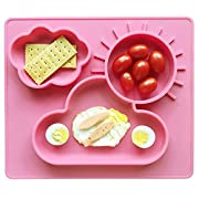 Baby Placemat and Bib, Food Grade Silicone Baby Suction Plate, Non-Slip (Pink)…