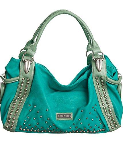 Vitalio Vera Cecilia Turquoise Green Large Silver Studded Handbag Purse (Bag Blue Green)