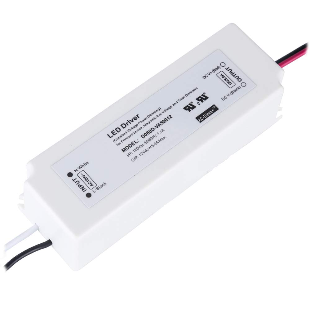 (UL LISTED) 60 Watt Dimmable LED Driver 12V IP67 Waterproof Power Supply 120V to 12VDC 5A Transformer Work with Wall Dimmer AC Dimming 12Volt Low Voltage Adapter for LED Strip Light Outdoor or Indoor