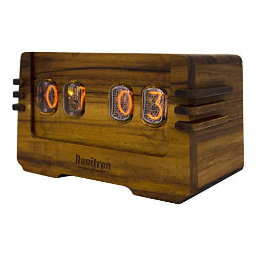 The Unique Nixie Clock | Vacuum Tube Alarm Clock | A Retro Wooden Desk Cool Clock | An Unusual Decorative Vintage Wood Clock Wedding or Anniversary Gift | Nixy OHM
