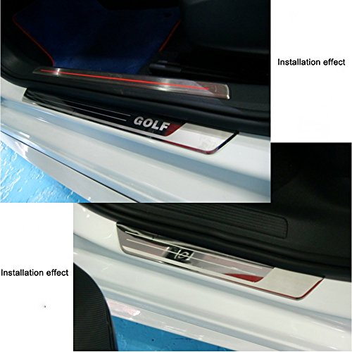 AUNAZZ/Car Door Entry Guards Door Scuff Step Plate Sill Cover Panel Guard Sills Protector Trim 4 PCS Attached Installation Tool: Amazon.es: Coche y moto