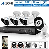 A-ZONE 4 Channel 1080P AHD Home Security Cameras System DVR kit W/ 4x HD 960P 1.3MP waterproof Night vision Indoor/Outdoor CCTV surveillance Camera, Quick Remote Access Setup Free App
