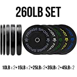 OneFitWonder 260 Lbs Bumper Plates Set/Virgin Rubber, Low Bounce, Odorless Premium Olympic Weight Plates for Crossfit Training/Weight Lifting/Home includes Pair of 10 lbs,15 lbs,25 lbs,35 lbs,45 lbs