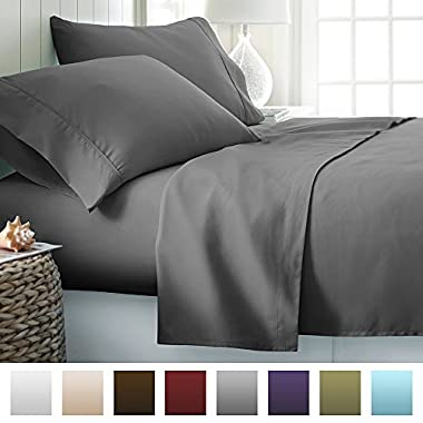 Beckham Hotel Collection Luxury Soft Brushed Microfiber 4 Piece Bed Sheet Set Deep Pocket - Queen - Gray