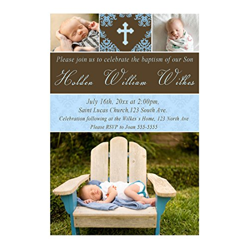30 Invitations Personalized Boy Baptism Christening Blue Brown With Photos Photo - Invitation Photo Baptism