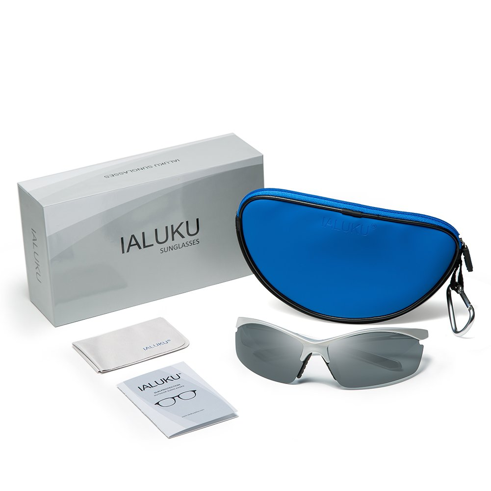 IALUKU Aviator Sunglasses Polarized for Men Classic Pilot Metal Frame UV400 (Grey / Grey, 64mm)