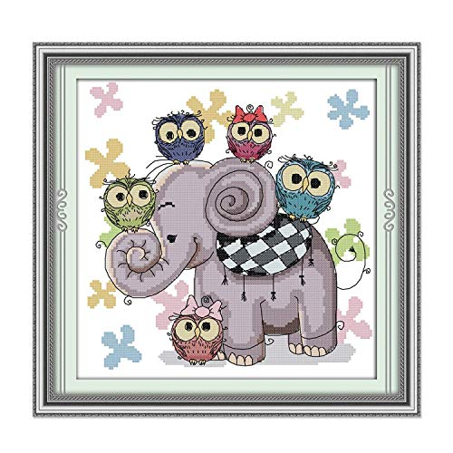 Cross Stitch Stamped Kits Pre-Printed Cross-Stitching Starter Patterns for Beginner Kids or Adults, Embroidery Needlepoint Kits Elephant and - Cross Disney Free Stitch