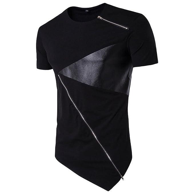 821e7b382a1528 Manadlian Herren T-Shirts Rundhals mit Reißverschluss Mode Männer T-Shirt  Unregelmäßig Baumwolle Kurzarm Hedging Slim Fit Bluse  Amazon.de  Bekleidung