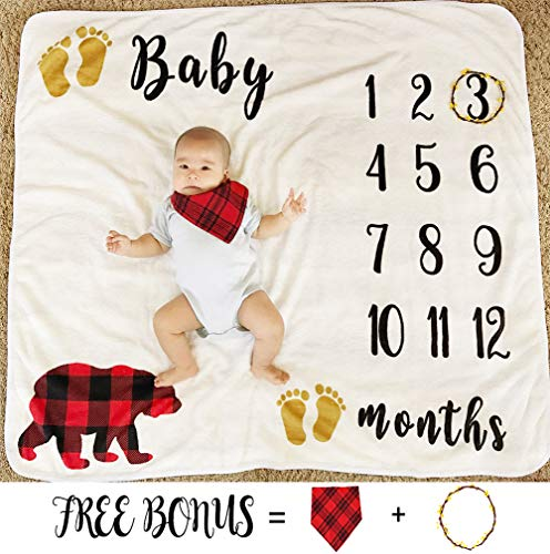 (Baby Monthly Milestone Blanket for Boy Girl, Large Personalized Photography Background Blankets, Thick Fleece for Mom Newborn Baby Shower Gifts + Bib + Frame (Bear Blanket, 43''x47''))
