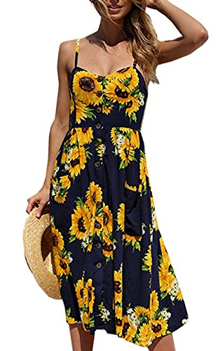 Casual Dresses For Women Summer Floral A Line Knee Length Fitted Fit and Flare Midi Under 20 Dollors 2018 Backless Sexy Bohemian Spaghetti Strap Button UP Down Swing With Pockets (Navy Blue, S)