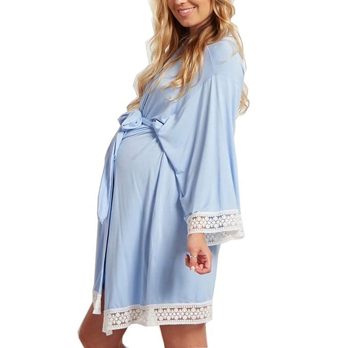 31c1040bc Gagacity - Básico Mujer Embarazada Lactancia Bata Camisón Pijama   Amazon.es  Ropa y accesorios