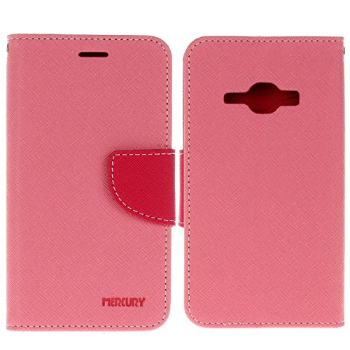 Galaxy J1 (2016) 4.5 Funda,COOLKE Dos Colores Funda Carcasa Cuero Tapa Case Cover Para Samsung Galaxy J1 (2016) 4.5 - Rose Rosa